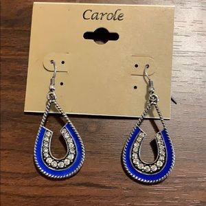 Blue horse shoe earrings